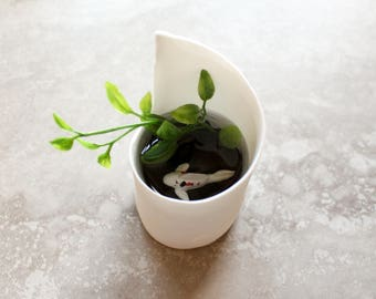 Miniature Koi Pond in White Abstract Bowl  / Terrarium / Fairy Garden Accessory / Tropical Home Decor