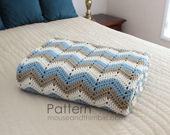 Bed Topper Easy Crochet Blanket PATTERN / Seaside Afghan (4 Sizes) / PDF 6080