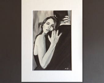 LANA DEL REY wall art - giclee print of 'Young and Beautiful' acrylic painting by Stephen Mahoney - portrait of Lana in a loving embrace