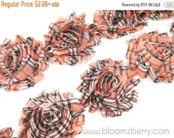 "SALE 30% OFF 2.5"" PRINTED Shabby Rose Trim -Pink Salmon Plaid Patterned- Chiffon Trim - Printed Shabby Trim - Hair Accessories  Supplies"
