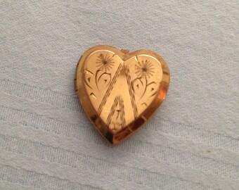 P & K Heart Shaped Double Locket 1/20 12k Gold GF
