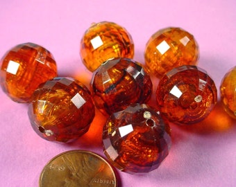 8 Vintage Tortoiseshell Faceted Round Disco Ball Beads 18mm