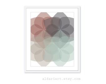 Geometric Flowers - Digital Print - Modern Home Decor - Retro Modern - Fall Colors - Rust Sage Charcoal Grey - Customizable Colors
