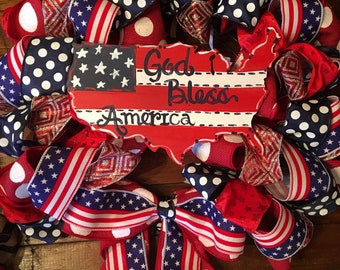 """USA patriotic 4th of July Red White and Blue 26"""" Ribbon Wreath"""