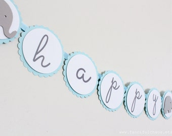 Happy Birthday Light Blue, White, Grey Elephant Paper Banner Bunting Garland- Boy Party Decorations