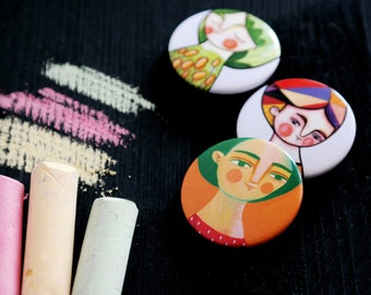 Pin buttons, backpack pins set, Girly pins, brooches set of 3, illustrated portraits, backpack pins set, backpack pins pack, gift for her