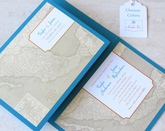 Mexican Wedding Invitation - Mexico Wedding Vintage Map - Destination Travel Theme - Folded Layered - Choose Your Colors