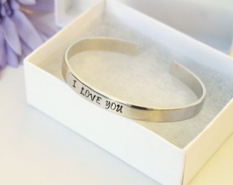 I Love You Bracelet Cuff - Personalized Bracelet - Love Bracelet Cuff - Handstamped Cuff - Aluminum Cuff - Adjustable Cuff - Girlfriend Gift