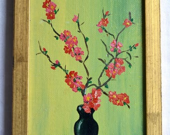 Vintage Miniature Oil on Canvas Painting - JJ Oriental Blossoms in Vase
