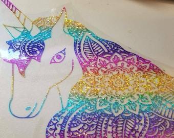 Mandala Unicorn/ Holographic Rainbow Vinyl
