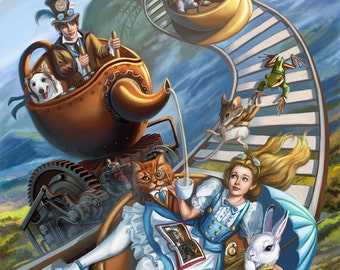 8.5x11 Signed Steampunk Alice in Wonderland MadHatter Tea Party Art Print by Sandra Chang-Adair