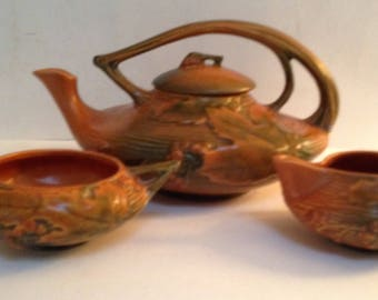 Roseville Pottery Bushberry Brown Tea Pot, Creamer & Sugar Bowl-Vintage-Rare