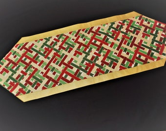 Gold white red and green table runner  Modern table runner Ribbon table runner Glam table runner