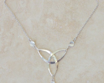 Silver Moonstone Triquetra Necklace,  Silver Knotwork Jewelry, Knotwork Necklace, Silver Celtic Necklace, Celtic Triquetra