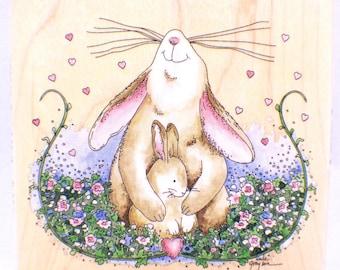 Stamps Happen Wooden Rubber Stamp Proud Mother Rabbit Bunny Love #70010