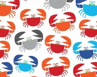 1 YARD Bright Multicolored Crabs on White Organic cotton fabric ~ Cloud 9 Happy Drawing Too