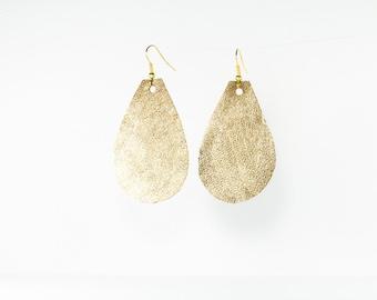Leather Raindrop Earrings - Medium - Gold