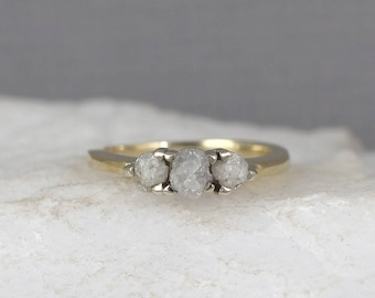 Raw Diamond Trio Ring - 14K Yellow Gold - 3 Diamond Engagement Ring - April Birthstone Rings -Uncut Rough Gemstone Rings- Anniversary Ring