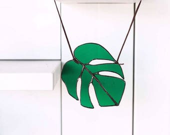 Monstera Leaf Stained Glass Suncatcher