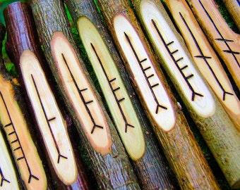 Corresponding Ogham staves - 20 woods, traditional ogham, Wicca runes, natural gift idea, handmade ogham set, UK seller, natural wood set