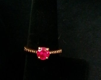 Lind Red Rhinestone 14kt HGE Ring