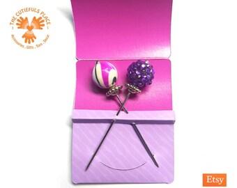 Shambala & Swirl Long Pin Stitch Counting Marking | Hat Shawl Hijab Scarf Lapel Pin | Fancy Pincushion Sewing Quilter Lacemaker Knitter Gift