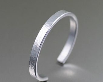 Thin Hammered Aluminum Cuff - Silver Stackable Mix and Match Cuffs - Handmade Silver Toned Jewelry for Women and Men - 10th Anniversary
