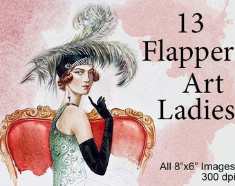 "13 Vintage Flapper Art Women Ladies /8"" by 6""/Printable Instant Digital Download/Tags: Retro Antique Art Noveau Deco Prints Girl Dancer"