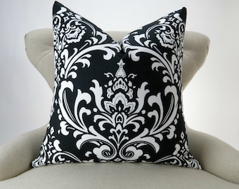 BLACK Damask Pillow Cover -MANY SIZES- white Ozborne cushion sham throw cushion Premier Prints decorative  Free Ship
