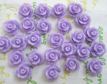 Tiny rose cabochons 10pcs PD 003 10mm Lavender