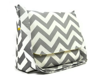 Gray Chevron Handbag, Women's Messenger Bag, Gray Chevron Purse, Gray Zig Zag Crossbody Bag, Chevron Purse, Gray White and Yellow Messenger
