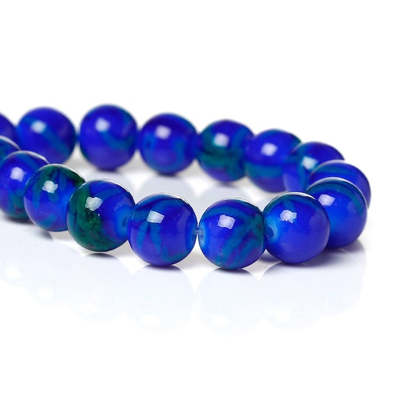 Set of 10 glass beads - Blue Navy - 8 mm