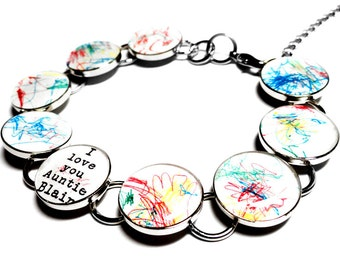 Childrens Artwork Custom Bracelet, Personalized Gift for Mom, Silver Resin Charm Link Bracelet, Childs Art, Kids, Family Gift, Mothers Day