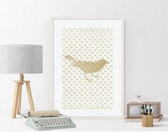 Gold Bird | Print Bird | Painting Bird | Illustration | Art Print Bird | Digital Print | Ornament Birds | Floral Print | INSTANT DOWNLOAD