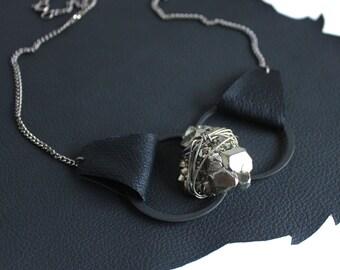 Pyrite Leather Lita Geode Necklace