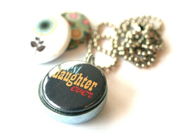 Daughter Necklace - Daughter Locket with 3 Interchangeable Magnetic Lids, Recycled Steel by Polarity
