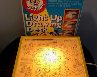 Vintage Mickey Mouse Club Light Up Drawing Table, 1970s, Walt Disney Productions