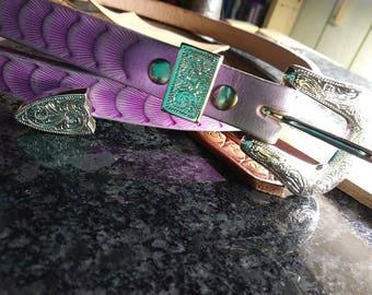 Ultra Violet belt, purple leather, women's belts, custom leather belt, men's belts, handmade belt