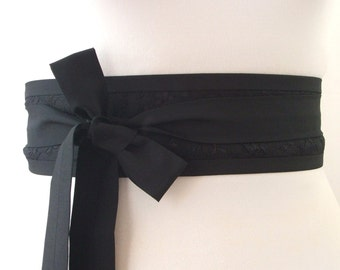 Black lace overlay Obi belt by loobyloucrafts