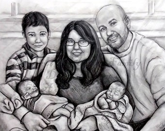 16x20, 5-6 subject family pencil portrait with Baby in Heaven. Made to Order. Matting Included.