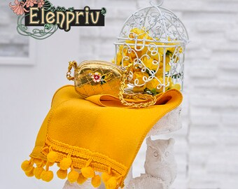 """ELENPRIV mustard color crepe scarf for Fashion Royalty FR2, Poppy Parker, Barbie, Color Infusion, Silkstone, Momoko and other 12"""" dolls"""