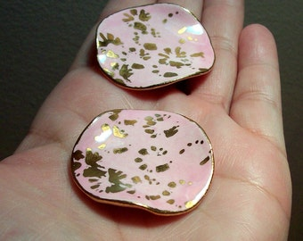 Vintage Pink and Gold Flake Porcelain Wavy Discs - 40mm - (2)