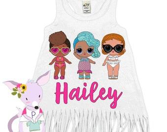 LOL Birthday Dress Any Age 1 2 3 4 5 6 7 8 Swim Party shirt Doll birthday party shirt LOL party Swimsuit Cover Up Birthday Swimsuit Cover UP