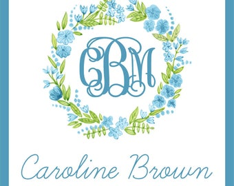 Monogramed Blue Floral Enclosure Cards For Girls
