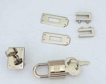 1 set of silver or gold-plated bag/purse/tote  twist turn lock with padlock and keys