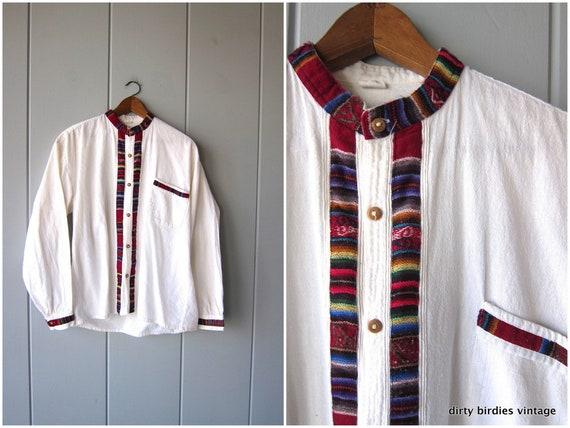 70s Ethnic Shirt Handwoven Cotton Button Up Shirt Ecuador Festival Top Natural White Folk Blouse Long Sleeve Hippie Boho Shirt Womens Mens
