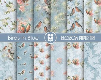 Birds Digital Paper, Digital Paper Birds, Vintage Scrapbooking, Birds in Blue - INSTANT DOWNLOAD  - 1728