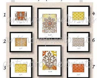 Browns Tans Orange Collage Wall Art Gallery Digital Prints -Set of (6) 5x7 (2) 8x10-  Prints -   (UNFRAMED)