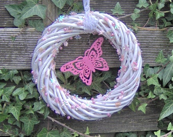 "Wreath: ""pink butterfly"""