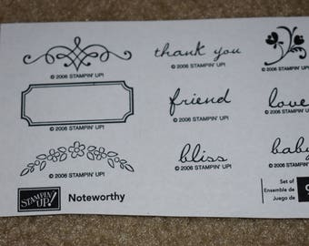 Stampin' Up! Noteworthy Wood Stamp Set (retired)